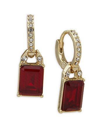 Ralph Lauren - Red Stone Charm Pavé Huggie Hoop Earrings in Gold Tone