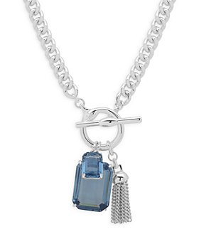Ralph Lauren - Blue Stone & Chain Tassel Pendant Necklace in Silver Tone, 17""