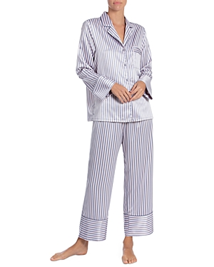 In Bloom by Jonquil Striped Satin Cropped Pajama Pants Set-Women