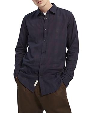 Scotch & Soda Cotton Reverse Plaid Slim Fit Button Down Shirt-Men