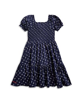 Ralph Lauren - Girls' Smocked Floral Print Tiered Cotton Dress - Little Kid