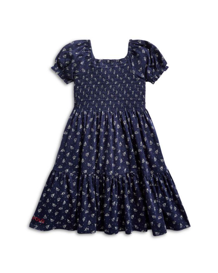 Ralph Lauren Girls' Smocked Floral Print Tiered Cotton Dress - Little Kid  | Bloomingdale's