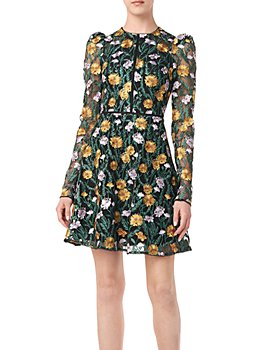 ML Monique Lhuillier - Long Sleeve Floral Embroidered Dress