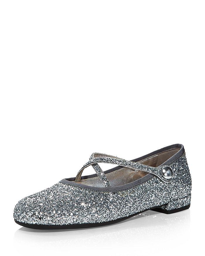 Miu Miu - Glitter Crisscross Strap Ballerina Flats