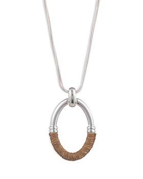 """Ralph Lauren - Raffia-Wrapped Pendant Necklace, 16"""""""