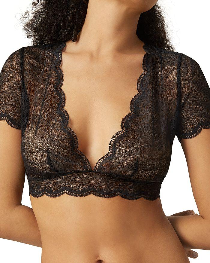 Implicite Frivole Short Sleeve Bra Top In Black