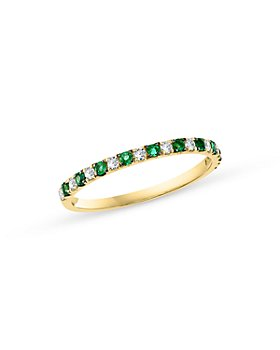 Bloomingdale's - Emerald & Diamond Stacking Ring in 14K Yellow Gold - 100% Exclusive