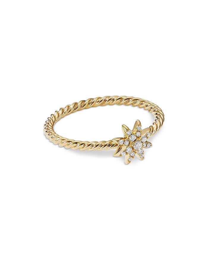 David Yurman - Petite Starburst Station Ring in 18K Yellow Gold with Diamonds