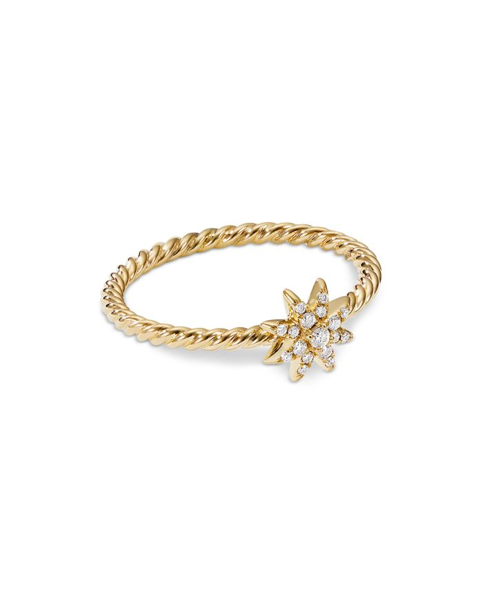 David Yurman Petite Starburst Station Ring in 18K Yellow Gold with Diamonds  | Bloomingdale's