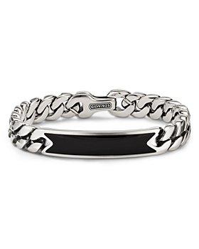 David Yurman - Sterling Silver Curb Chain ID Bracelet with Black Onyx