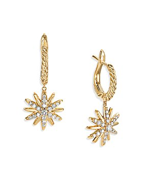 David Yurman - 18K Yellow Gold Starburst Drop Earrings with Diamonds