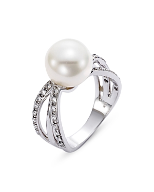 18K White Gold Cultured Freshwater Pearl & Diamond Ring