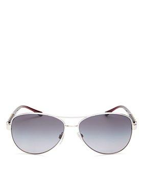 Burberry - Women's Polarized Brow Bar Aviator Sunglasses, 59mm