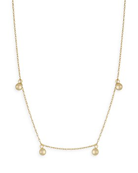 """Moon & Meadow - 14K Yellow Gold Bead Dangle Statement Necklace, 16-18"""""""