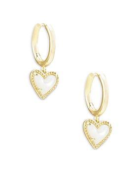 Kendra Scott - Ari Mother of Pearl Heart Drop Huggie Hoop Earrings