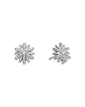 David Yurman - Sterling Silver Petite Starburst Stud Earrings with Diamonds