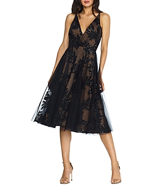 Dress the Population Courtney Sequinned Lace Midi Dress-Women
