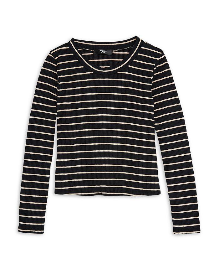 AQUA - Girls' Ribbed Striped Long Sleeve Top, Big Kid - 100% Exclusive