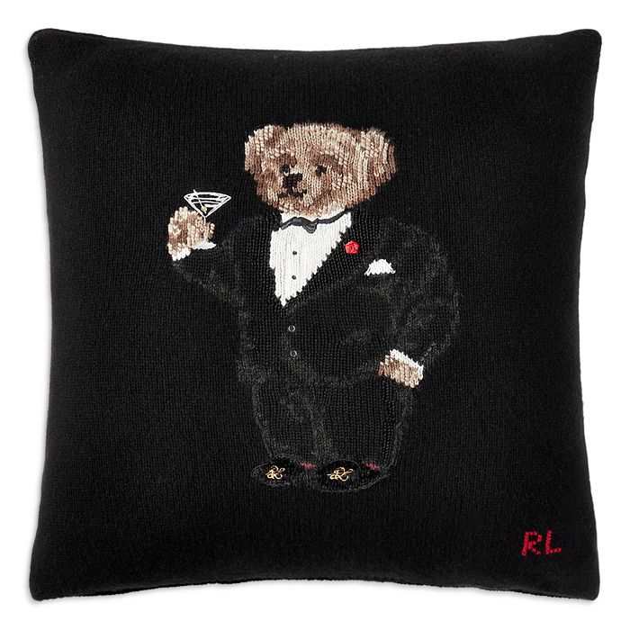 """Ralph Lauren - Martini Bear Throw Pillow, 20"""" x 20"""""""