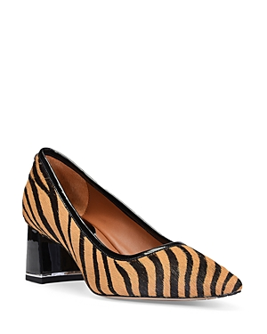 Donald Pliner WOMEN'S POINTED TOE TIGER PRINT CALF HAIR LEATHER DRESS PUMPS