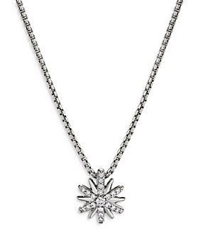 David Yurman - Petite Starburst Pendant Necklace with Diamonds, 18""