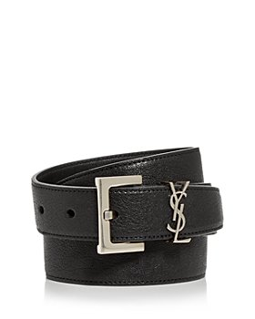 Saint Laurent - Men's Milo Logo Buckle Leather Belt