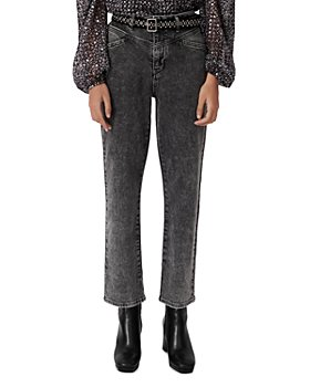 Maje - Pierrebelt Belted Acid Wash Ankle Jeans in Anthracite