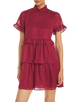 AQUA - Tonal Metallic Stripe Tiered Dress - 100% Exclusive