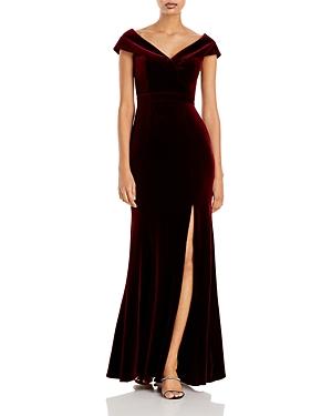 Off-the-Shoulder Fluted Velvet Gown