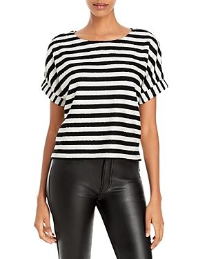 Milly Julie Embellished Striped Top