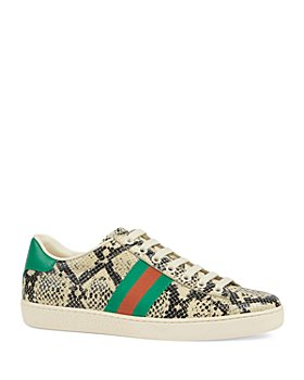 Gucci - Women's New Ace Python Print Leather Sneakers