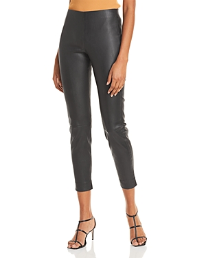 Vince Leather Cropped Pull On Pants