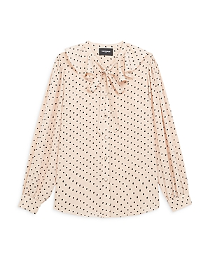 The Kooples RUFFLED POLKA DOT BLOUSE