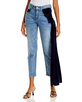 Hellessy - Ramy Velvet Drape Cropped Jeans in Medium Wash/Navy