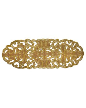 """NOMI K - Hand Beaded Gold Tone Lace Runner, 20"""" x 54"""""""
