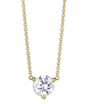Lightbox Lab-Grown Diamond Round Solitaire Pendant Necklace in 10K Yellow Gold