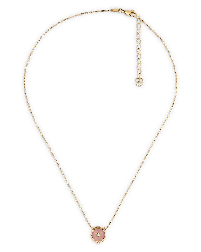 "Gucci - 18K Yellow Gold Diamond & Pink Opal Feline Head Pendant Necklace, 17.7"""