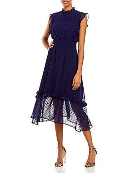 AQUA - Smocked Clip-Dot Midi Dress - 100% Exclusive