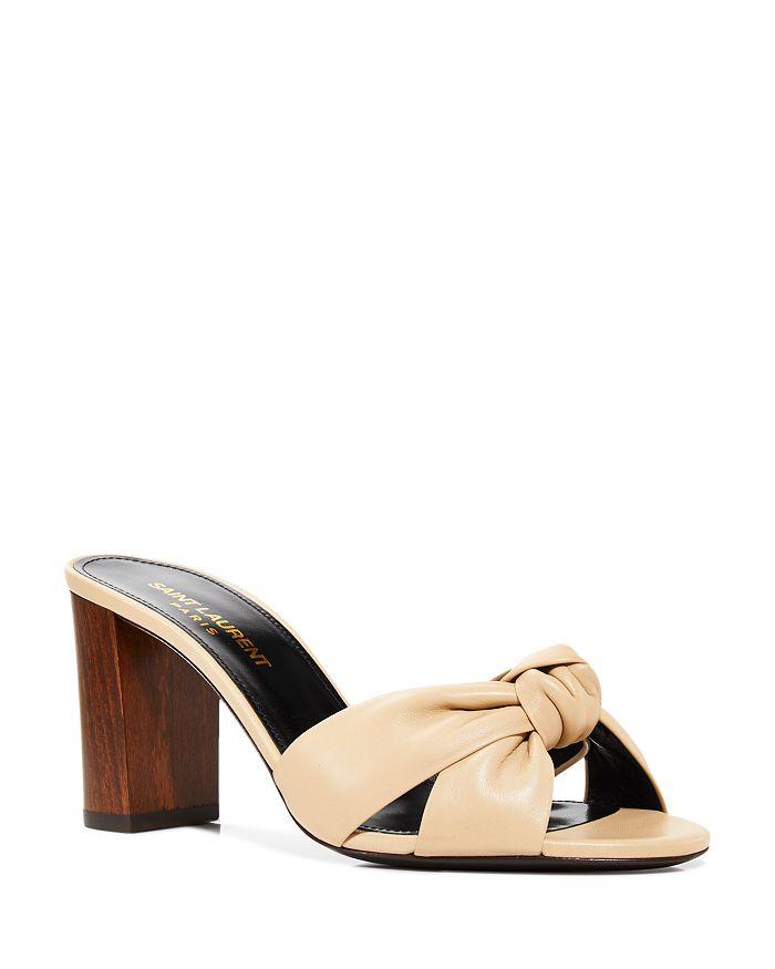 Saint Laurent - Women's Bianca 75 Knotted Leather Mid Heel Sandals
