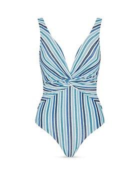 Jonathan Simkhai - Striped V-Neck One Piece Swimsuit