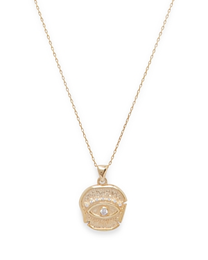 Cubic Zirconia Evil Eye Pendant Necklace in 14K Gold Plated Sterling Silver
