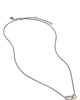 David Yurman - Sterling Silver & 18K Yellow Gold Cable Collectibles® Double Heart Necklace, 18""