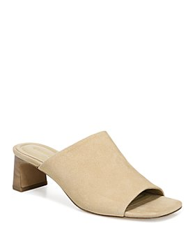 Vince - Women's Pennie Square Toe Mid Heel Suede Sandals