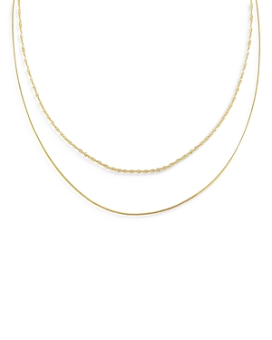 Adinas Jewels DOUBLE CHAIN NECKLACE, 16 AND 18