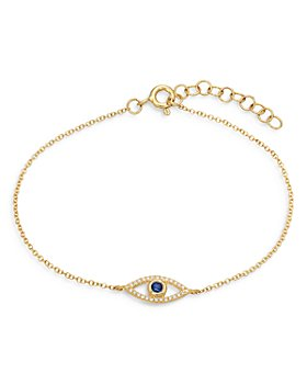 Zoe Lev - 14K Yellow Gold Diamond & Blue Sapphire Evil Eye Bracelet