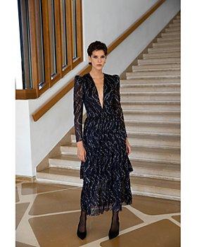 Sabina Musayev - Carolina Tiered Shimmer Midi Dress