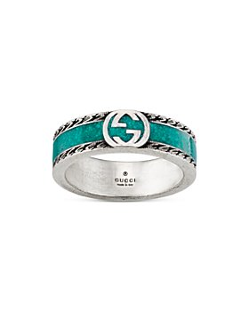 Gucci - Sterling Silver & Enamel Interlocking G Ring