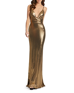 Mac Duggal Metallic Column Gown-Women