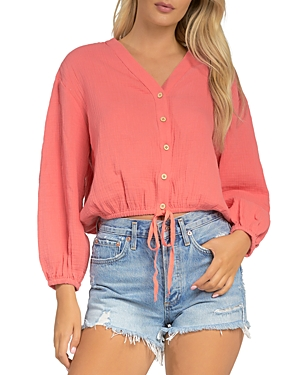 V Neck Button Front Top