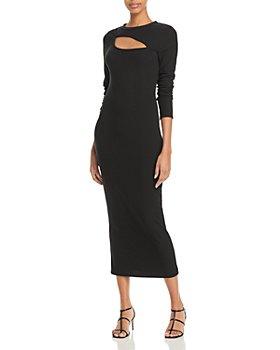 AQUA - Front Cutout Ribbed Dress - 100% Exclusive